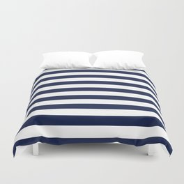 Nautical Navy Blue and White Stripes Duvet Cover