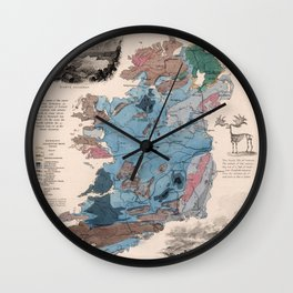 Vintage Geological Map of Ireland (1850) Wall Clock