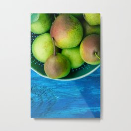 Pears on a Blue Table Metal Print