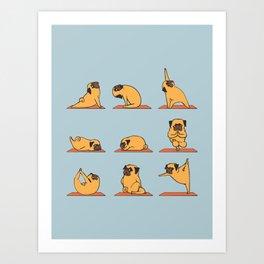 Pug Yoga In Blue Art Print