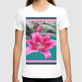FUCHSIA PINK LILY TEAL ARTWORK T-shirt