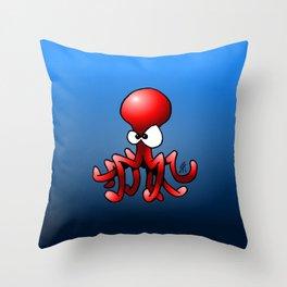 Red Octopus Throw Pillow