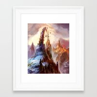 magic the gathering Framed Art Prints featuring Mountain - Magic: The Gathering by vmeignaud
