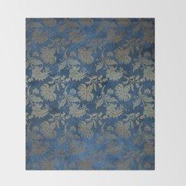 Blue Velvet Gold Floral Pattern 01 Throw Blanket