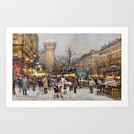Paris Porte Saint-Denis, Paris, France by Eugene Lalien Laloue Art Print