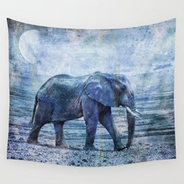 The Elephants Journey Blue Moon Wall Tapestry