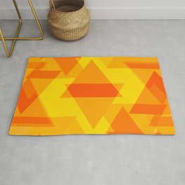 Bright yellow and orange large triangles in the intersection and overlay. Rug