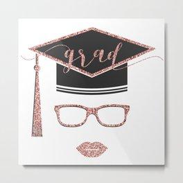 Grad modern typography & academic cap Metal Print
