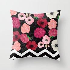 Chevron Flowers Throw Pillow