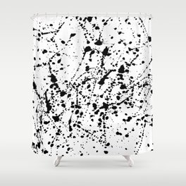 Splat Black on White Shower Curtain