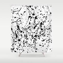 Splat Black on White Shower Curtain