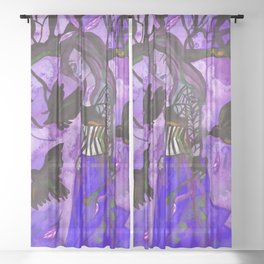 Raven Witch - Dark Violet Sheer Curtain