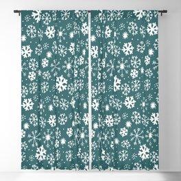Snowflake Snowstorm In Aqua Blue Blackout Curtain
