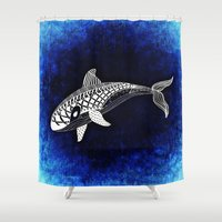 killer whale Shower Curtains featuring Killer Whale Illustration by Limitless Design