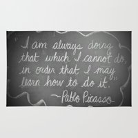 picasso Area & Throw Rugs featuring Picasso Quote by Brusling