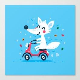White Fox Riding Vespa Canvas Print