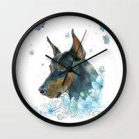 doberman Wall Clocks featuring Blue Doberman by Parmelyn