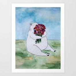 A Bear with Flowers Art Print