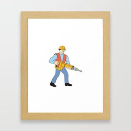 Construction Worker Holding Jackhammer Cartoon Framed Art Print
