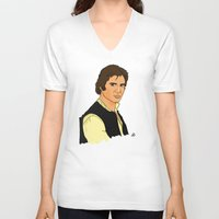 han solo V-neck T-shirts featuring Han Solo by Bleachydrew