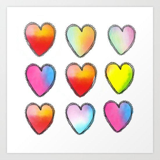 Paper Hearts Art Print