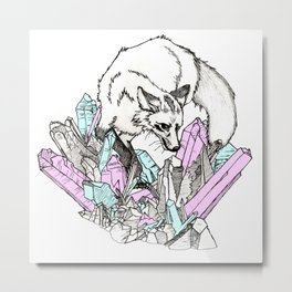 Fox Amidst the Crystals (color edtion) Metal Print