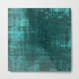 Teal Green Solid Abstract Metal Print