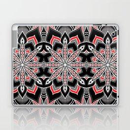 Mandala: Black White Red Flower Laptop & iPad Skin