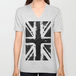 Black UK Flag Unisex V-Neck