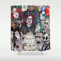 tim shumate Shower Curtains featuring TIM BURTON TEA PARTY by ●•VINCE•●