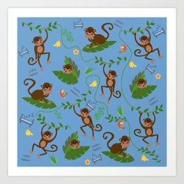jumping cheeky monkeys blue 04 Art Print