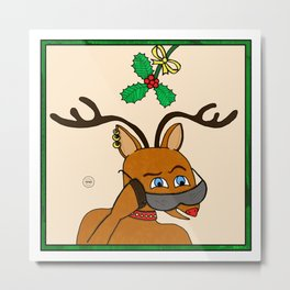 Rudolph Under the Mistletoe Metal Print