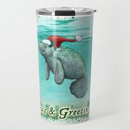 "Seas and Greetings ~ ""Mossy Manatee"" by Amber Marine ~ Watercolor ~ (Copyright 2016) Travel Mug"