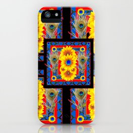 BLUE PEACOCK JEWELED SUNFLOWERS DECO ABSTRACT iPhone Case
