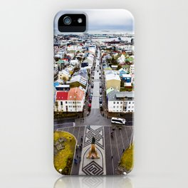 Looking Down on the Colored Buildings Down to the Sea in Reykjavik iPhone Case