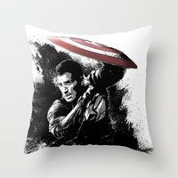 steve rogers Throw Pillows featuring Steve Rogers: Shadow Edition by NKlein Design