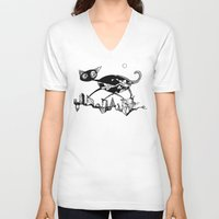 black cat V-neck T-shirts featuring black cat by Bunny Noir