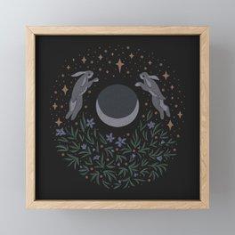 Hares and the Moon Framed Mini Art Print