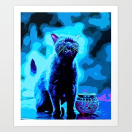 british shorthair cat ready to attack vector art moonlight Art Print