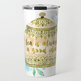 Watercolor Teapot Flowers Travel Mug