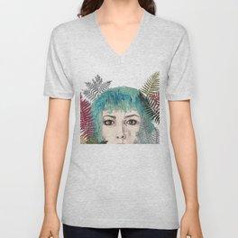 Blue-haired girl with leaves Unisex V-Neck