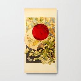 Japanese Ginkgo Hand Fan Vintage Illustration Metal Print