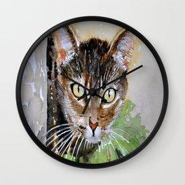The Curious Tabby Cat Wall Clock