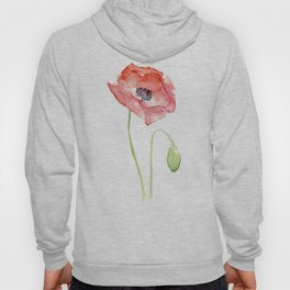 Red Poppy Watercolor Flower Floral Abstract Hoody
