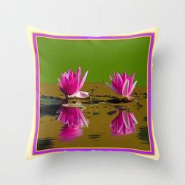 Fuchsia Water Lilies Green Art Throw Pillow
