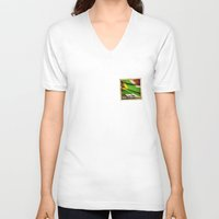 south africa V-neck T-shirts featuring South Africa grunge sticker flag by Lulla