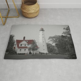 Old North Point Lighthouse Milwaukee Selective Color Red Lake Michigan Light Station Wisconsin Rug