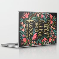 typography Laptop & iPad Skins featuring Little & Fierce on Charcoal by Cat Coquillette