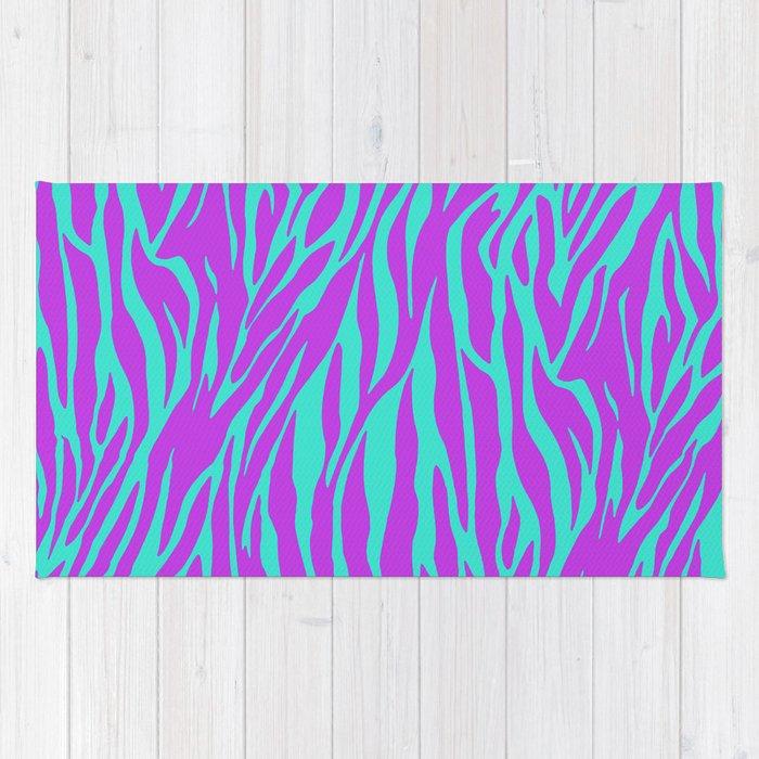 Purple And Green Zebra Print Rug
