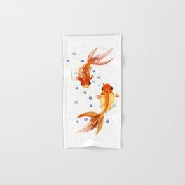 Goldfish, two fish, Koi Asian Style watercolor art, feng shui Hand & Bath Towel